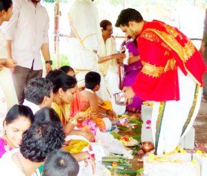 brahmin performing gopuja at godesimilk farm